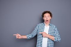 Shocked attractive good-looking nice handsome young man with wav royalty free stock photography