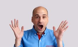 Shocked bald guy  Royalty Free Stock Images