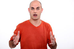 Shocked bald man Royalty Free Stock Photo