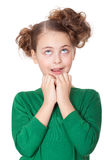 Shocked beautiful girl making wow expression. Looking up stock photo