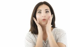 Shocked beautiful woman with opened mouth looking. Isolated clos Royalty Free Stock Photos