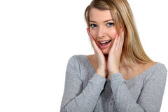 Shocked blond woman Royalty Free Stock Photo