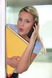 Shocked blond woman Stock Image
