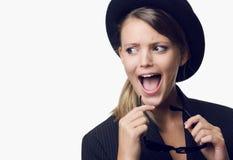 Shocked blonde girl Stock Image