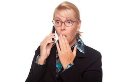 Shocked Blonde Woman on Cell Phone Stock Photography
