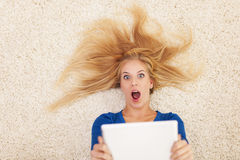 Shocked blonde woman Stock Photos
