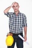 Shocked bold builder Stock Image