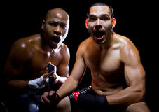 Shocked Boxer and Trainer Stock Photography