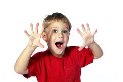 Shocked Boy. Four year old boy showing the emotion of being shocked Stock Image