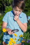 Shocked boy with magnifying glass Stock Photography
