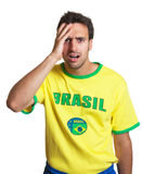 Shocked brazilian soccer fan Stock Images
