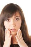 Shocked brunette stock photos