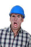 Shocked builder Royalty Free Stock Photography