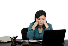 Shocked business lady by internet news Royalty Free Stock Photo