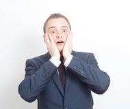Shocked business man Royalty Free Stock Photo