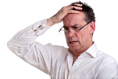 Shocked Business Man Holding Head Royalty Free Stock Photo