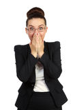 Shocked business woman covering her mouth Stock Photo