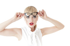 Shocked business woman in glasses. Stock Photo