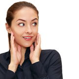 Shocked business woman with hand at Stock Photography