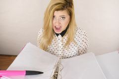 Shocked business woman looking at documents. Shocked accountant business woman looking at documents in binder seeing something surprising Royalty Free Stock Photo