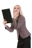 Shocked business woman looking at the paper Royalty Free Stock Photo