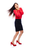 Shocked business woman in red. Woman in red is shocked isolated on white Stock Photos