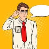 Shocked Businessman in Eyeglasses. Pop Art illustration Stock Images