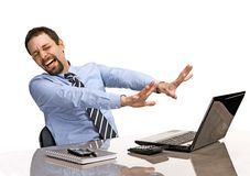 Shocked businessman with eyes closed is against uncensored Internet content Stock Image