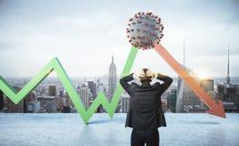 Shocked businessman looking on falling stock chart and germ coronavirus