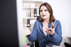 Shocked Businesswoman Facing Computer Screen Stock Photos