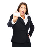 Shocked businesswoman holding empty card Stock Images