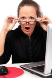 Shocked businesswoman with open mouth Royalty Free Stock Photography