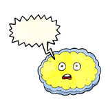Shocked cartoon cloud face with speech bubble Royalty Free Stock Image
