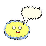 Shocked cartoon cloud face with speech bubble Royalty Free Stock Photo