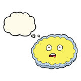Shocked cartoon cloud face with thought bubble Stock Photos