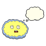 Shocked cartoon cloud face with thought bubble Royalty Free Stock Photo