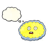 Shocked cartoon cloud face with thought bubble Royalty Free Stock Images