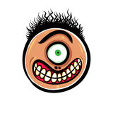 Shocked cartoon face with one eye, vector illustration. Stock Image