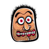 Shocked cartoon face with stubble, vector illustration. Stock Photography