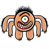 Shocked cartoon monster with one eye, black and white lines vect Royalty Free Stock Images