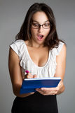 Shocked Checkbook Woman Royalty Free Stock Images