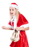 Shocked Christmas woman with shoes Stock Image