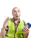 Shocked Construction Worker Royalty Free Stock Photography