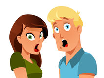 Shocked couple. Funny shocked couple on white background Stock Photos
