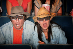 Shocked Couple with 3D Glasses Royalty Free Stock Photos