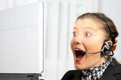 Shocked customer service Royalty Free Stock Photography