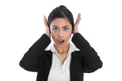 Shocked and desperate isolated indian woman forgot something. Stock Photography