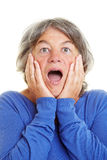 Shocked elderly woman Royalty Free Stock Photography