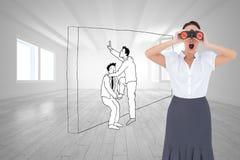 Shocked elegant businesswoman looking through binoculars Stock Images