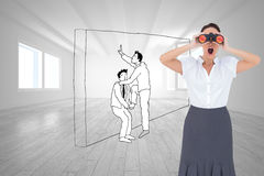Shocked elegant businesswoman looking through binoculars. Composite image of shocked elegant businesswoman looking through binoculars while posing Stock Images